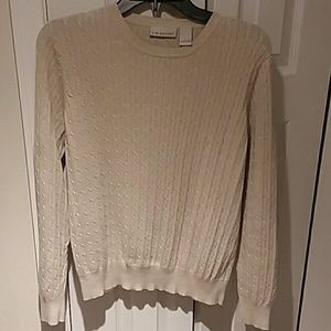 Kim Rogers cable knit crew neck sweater
